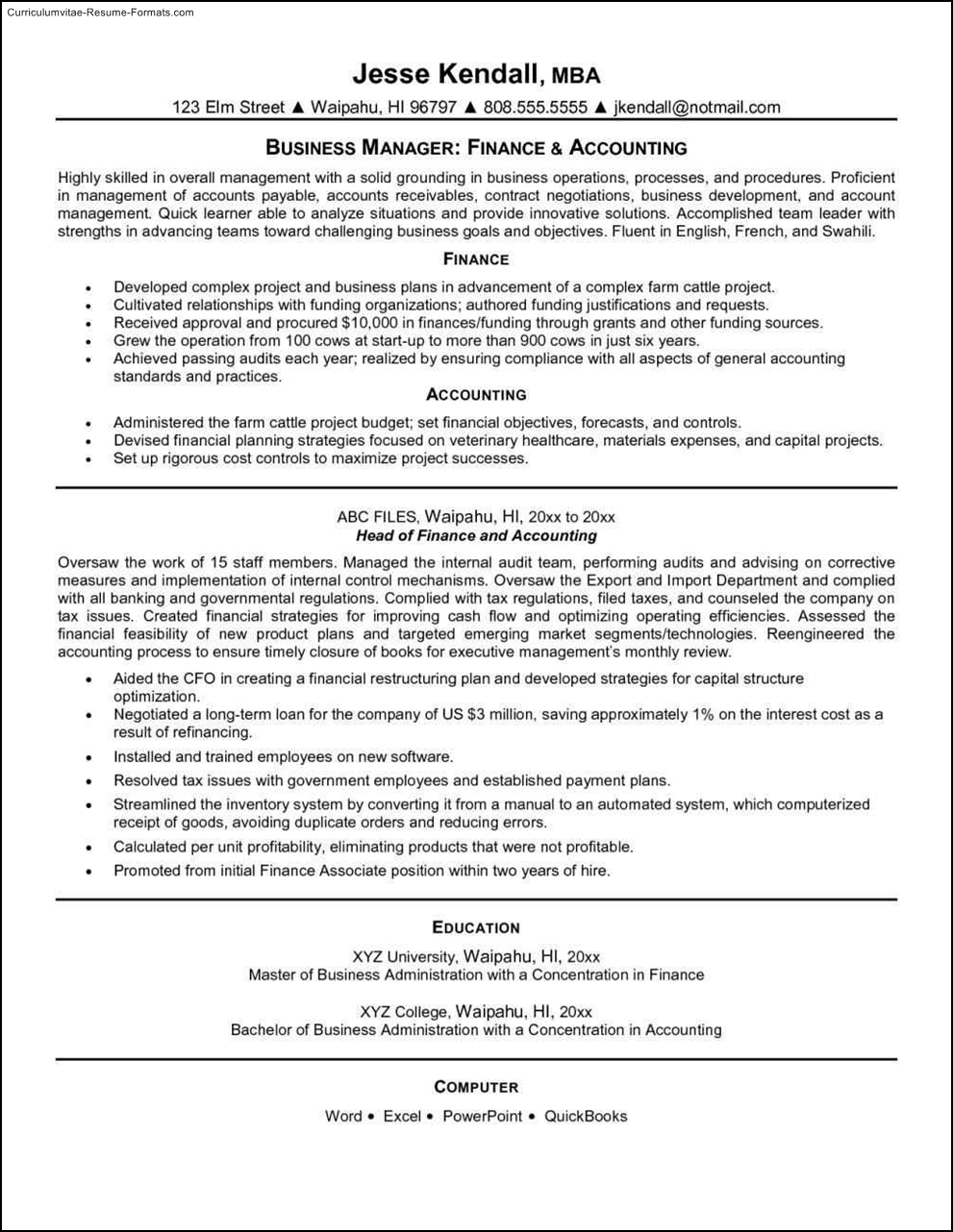 cpa resume templates
