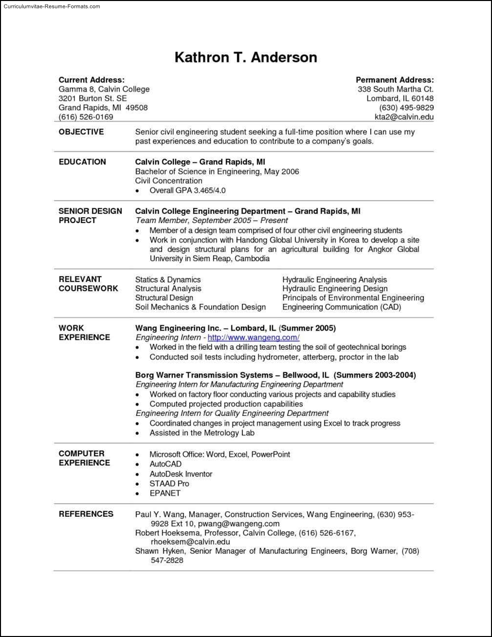 current college student resume template