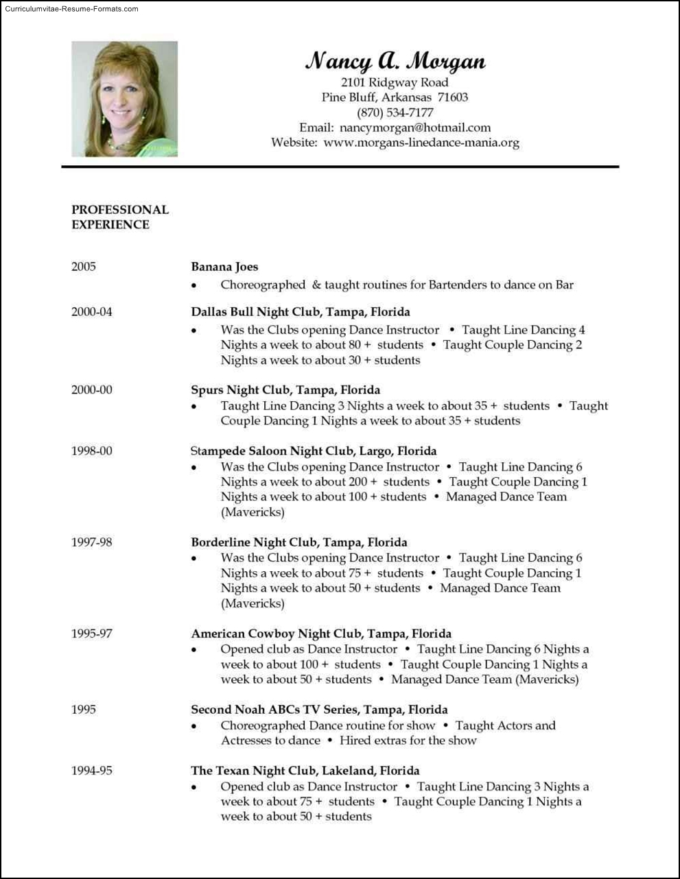 dancer resume template  free samples  examples  format