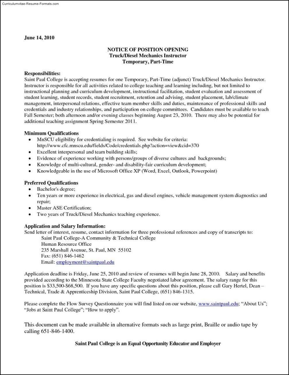 diesel mechanic resume template