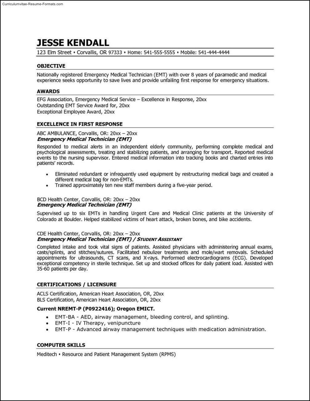 emt resume template free sles exles format