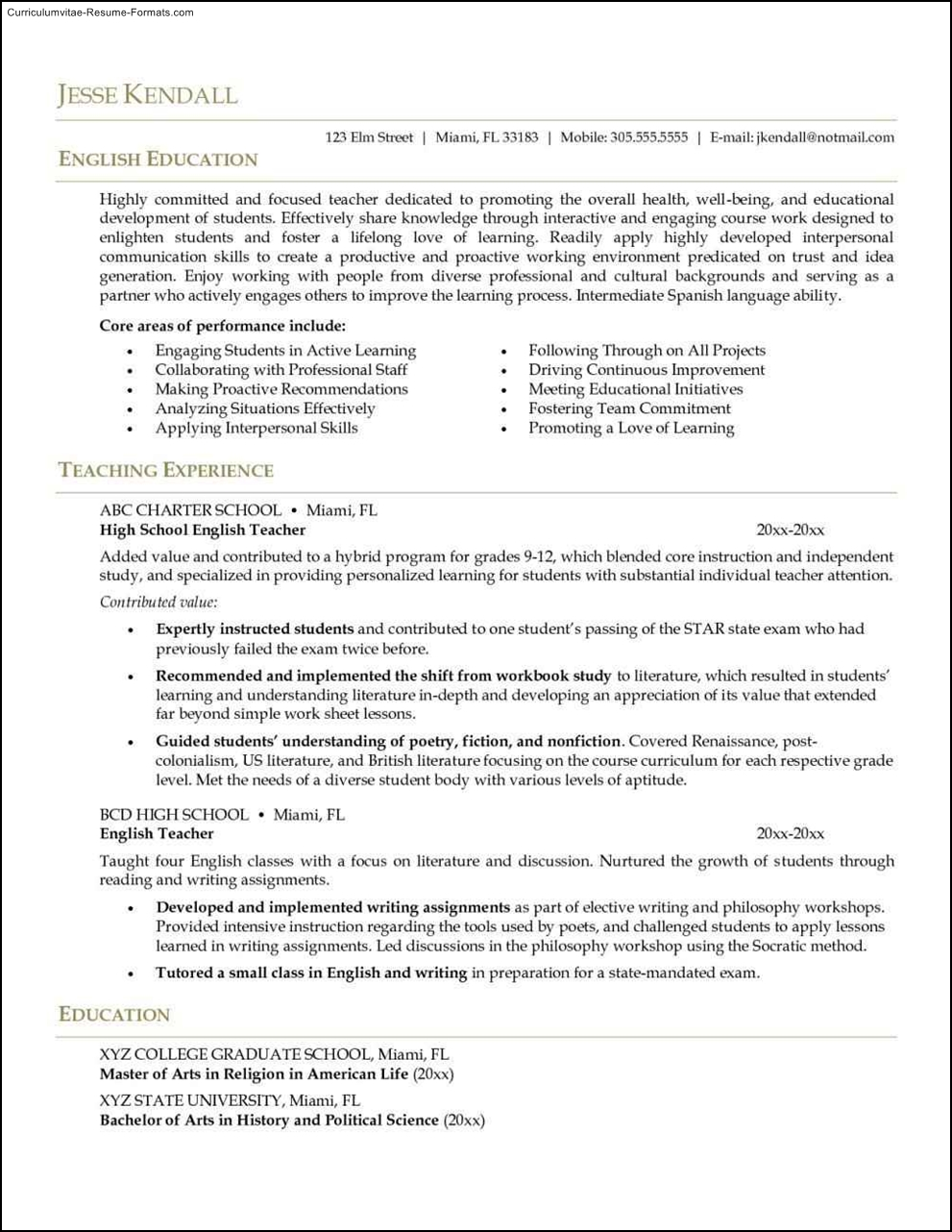 English Teacher Resume Template Free Samples Examples
