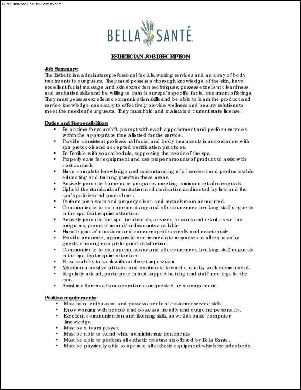 esthetician resume templates