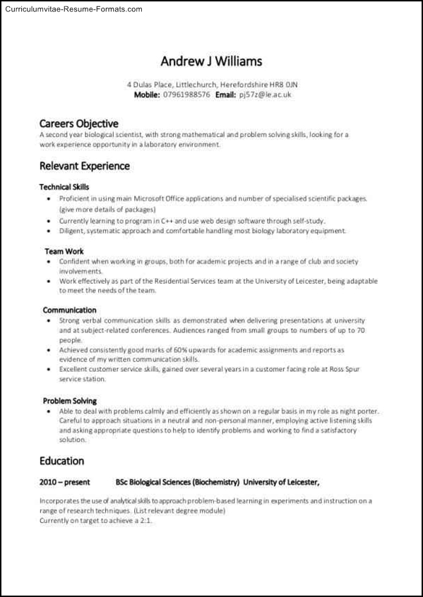 Experience Based Resume Template Free Samples Examples