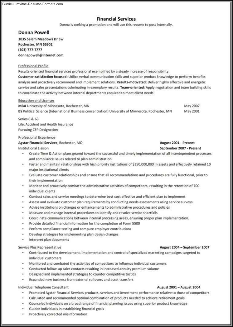 financial services resume template