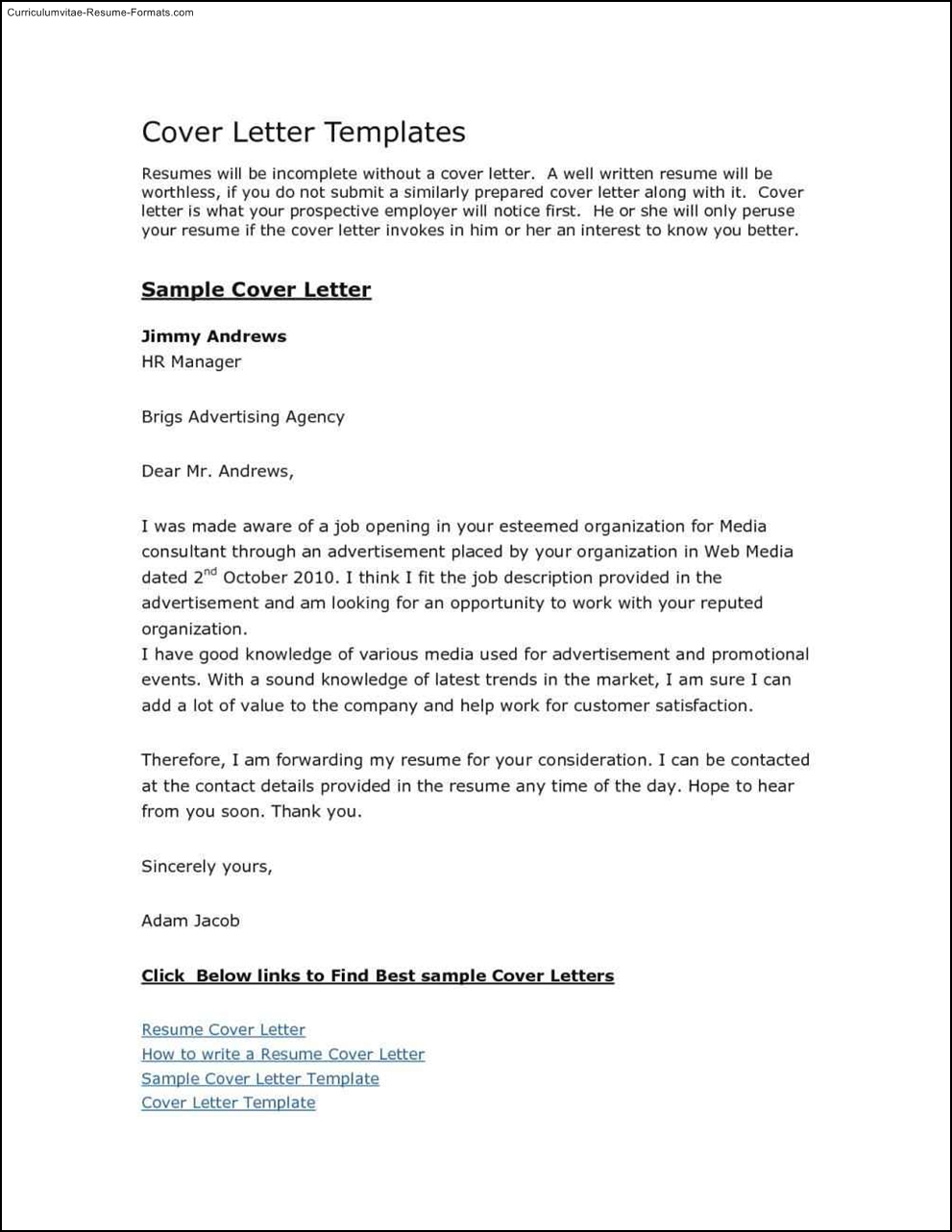 free cover letter template for resume in word  free