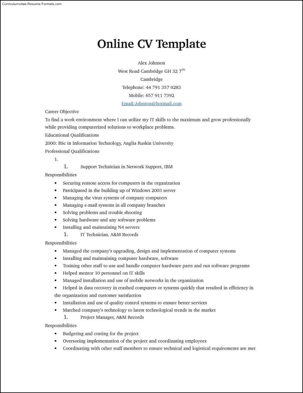free online resume templates