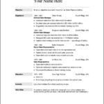 Free Resume Outline Templates
