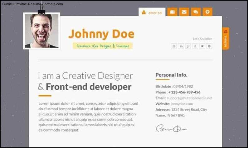 free resume website template