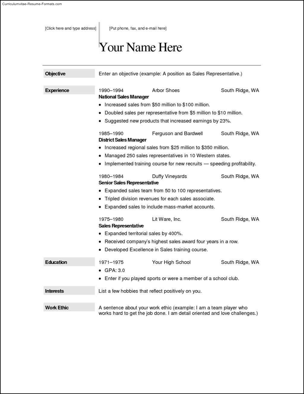free sample resumes templates free samples examples