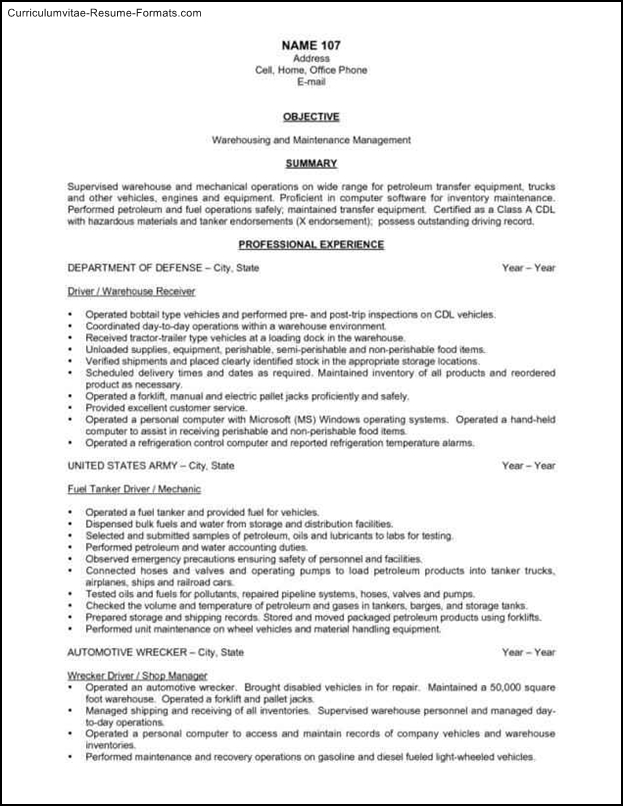 free warehouse resume templates