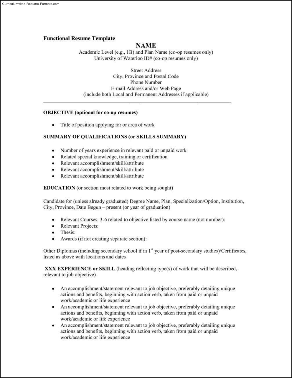 functional resumes templates