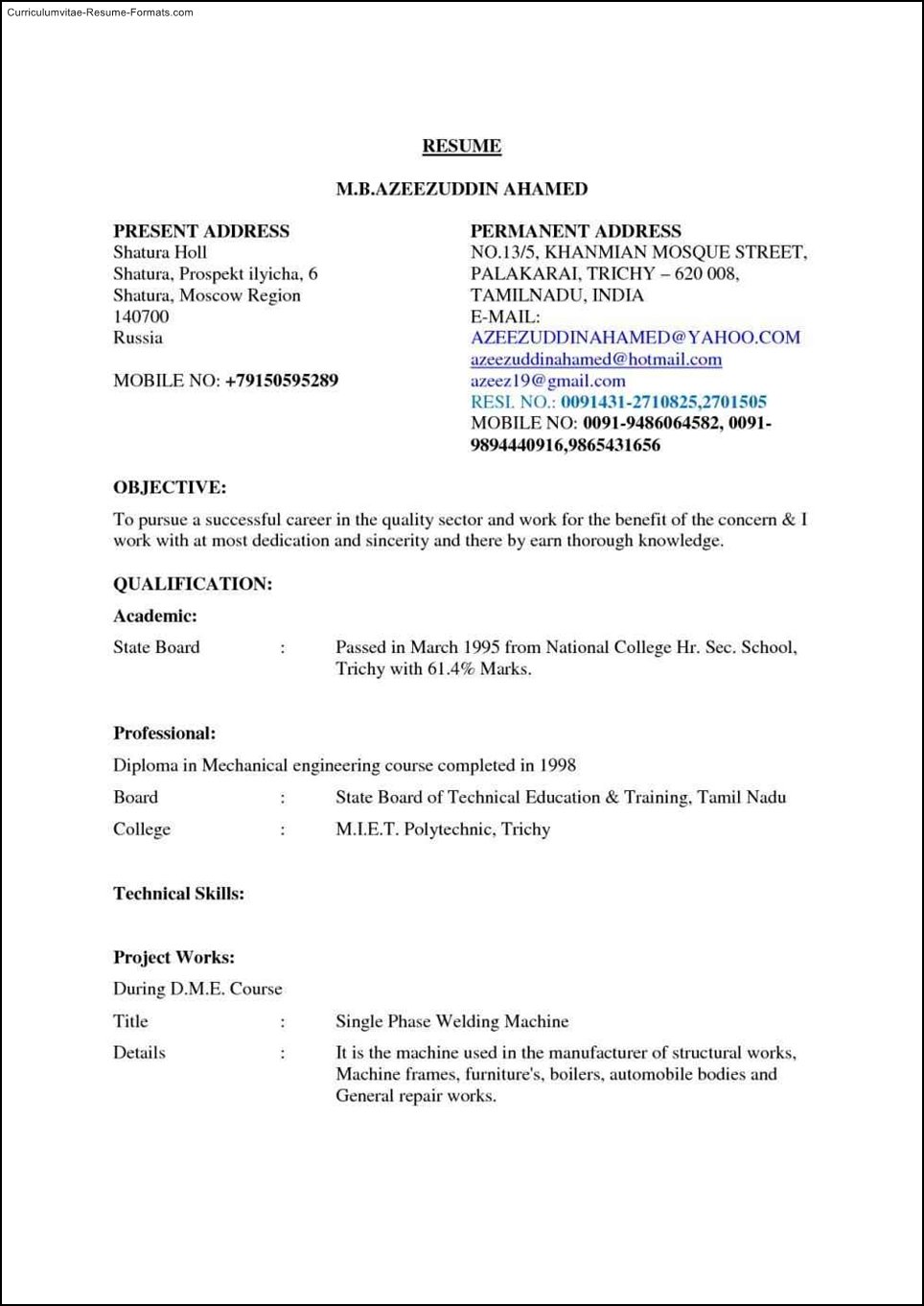 Gmail Resume Templates Free Samples Examples Amp Format