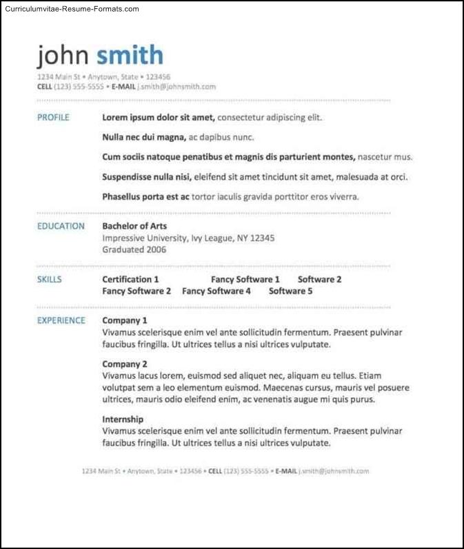 good resume templates word