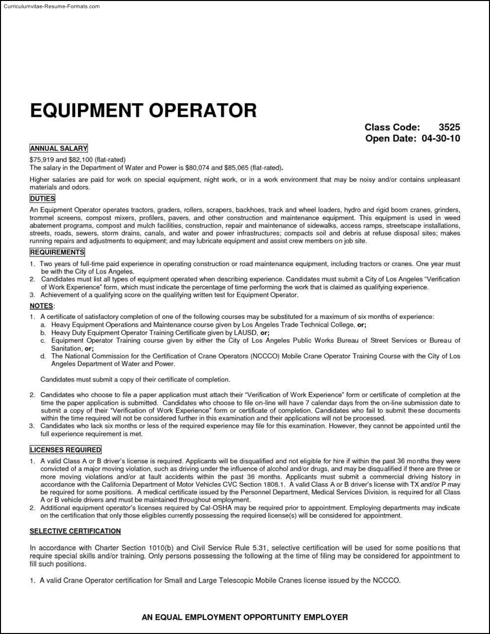 heavy equipment operator resume template