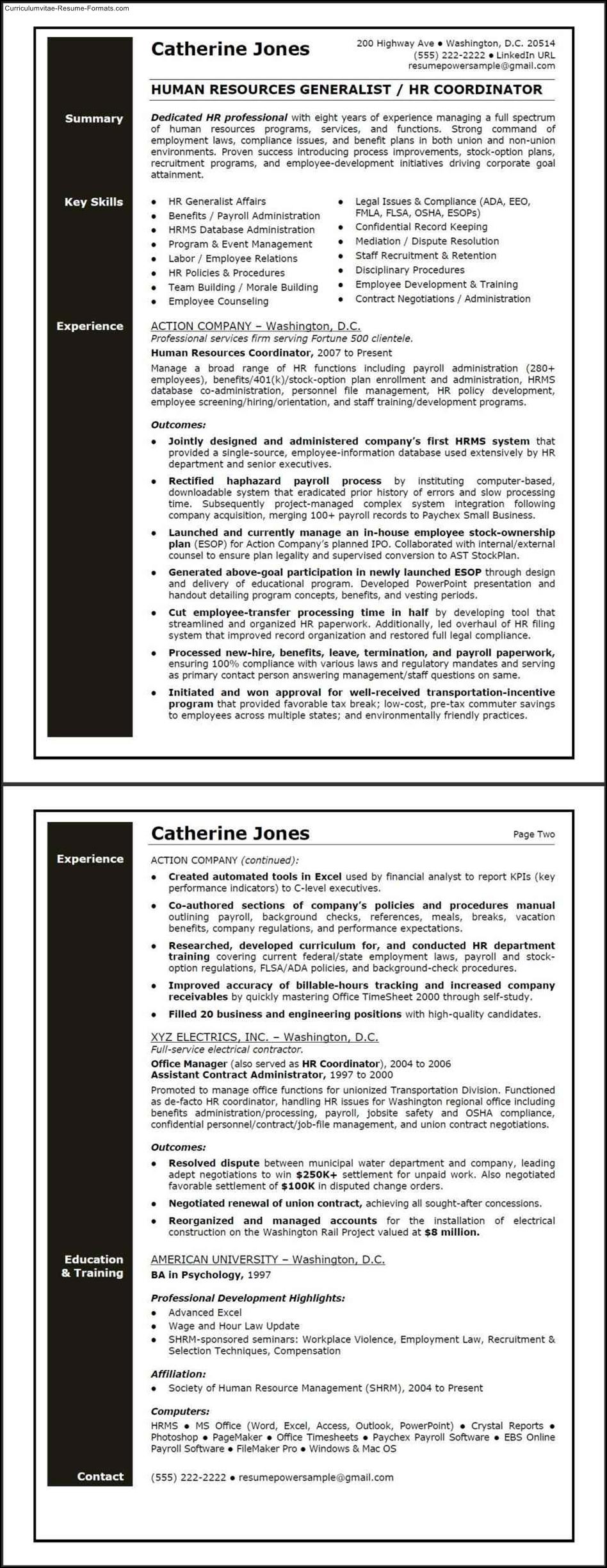 hr generalist resume template hr resume template
