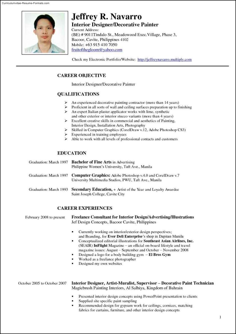 interior designer resume template