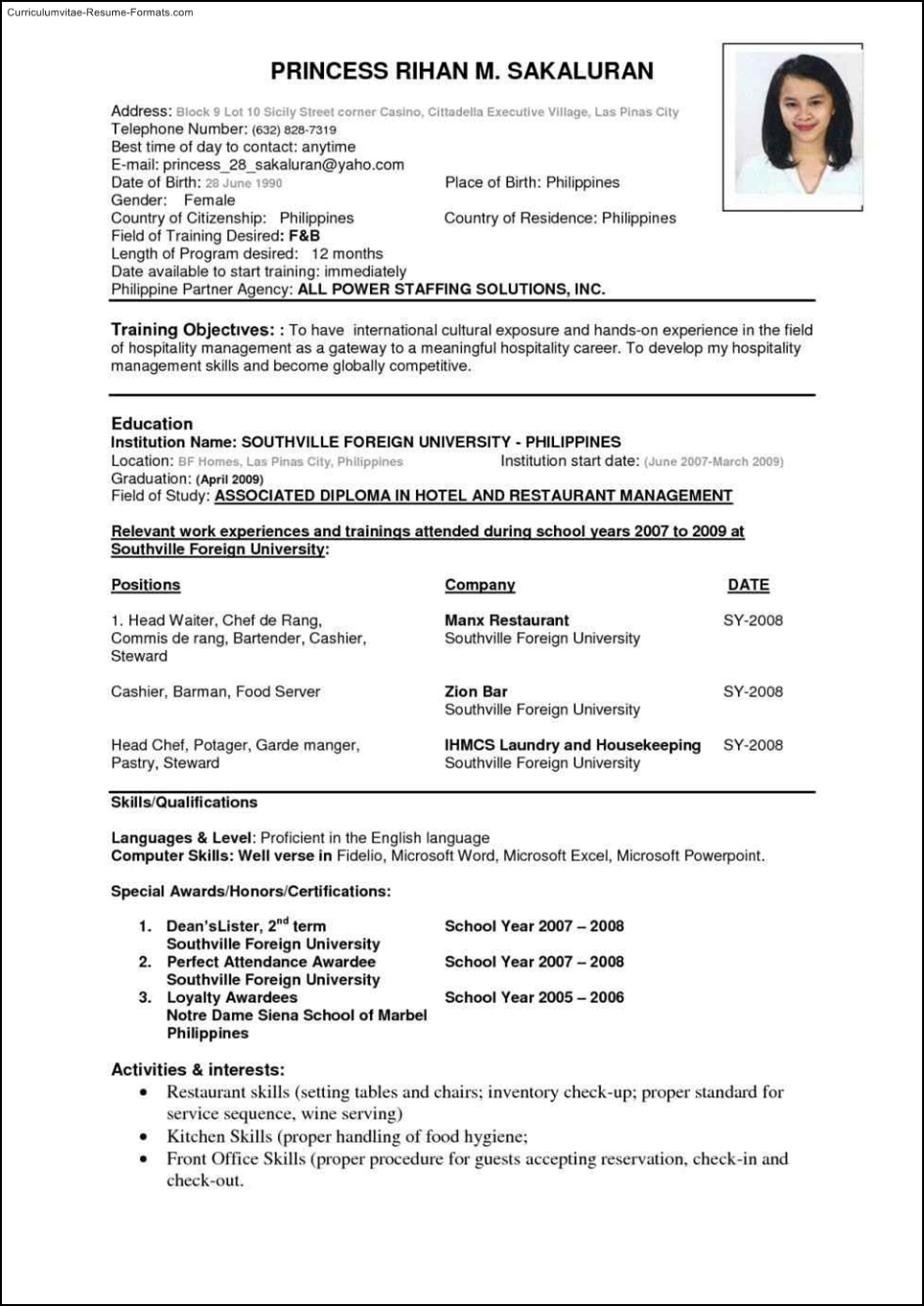 International Resume Template Free Samples Examples
