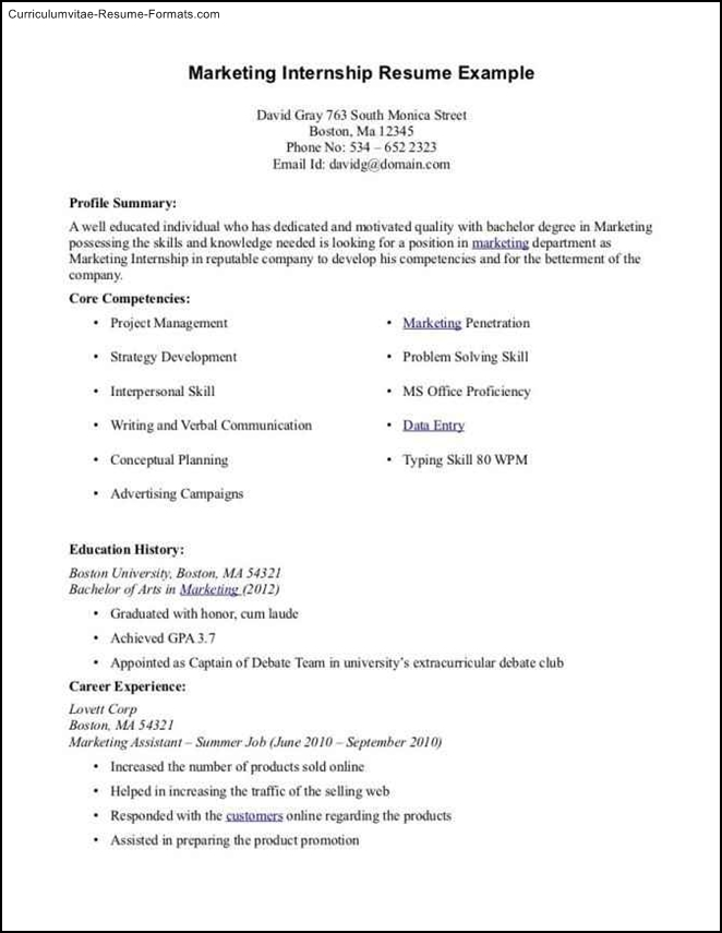 internship resume template microsoft word