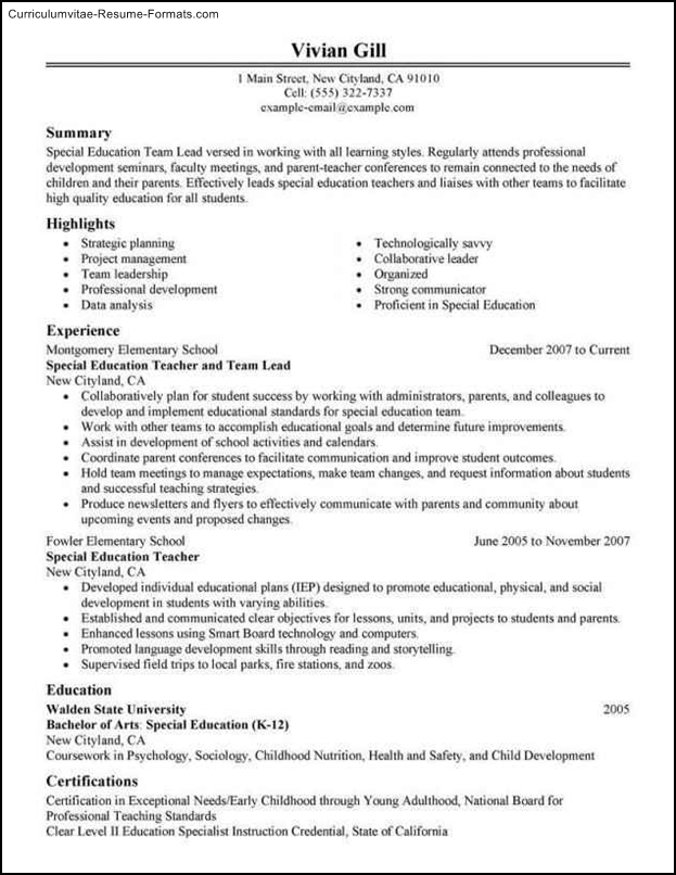 leadership resume template
