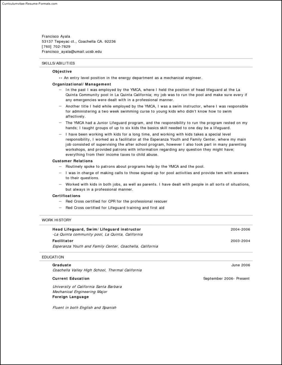 Lifeguard Resume Template Free Samples Examples