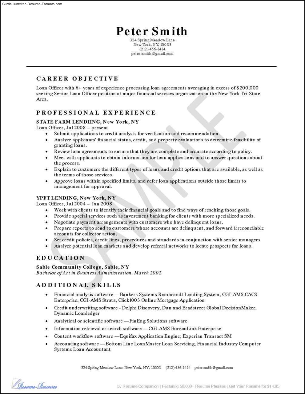 Loan Officer Resume Templates Free Samples Examples
