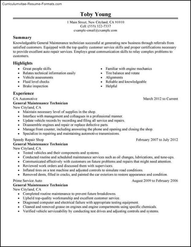 maintenance mechanic resume template  free samples