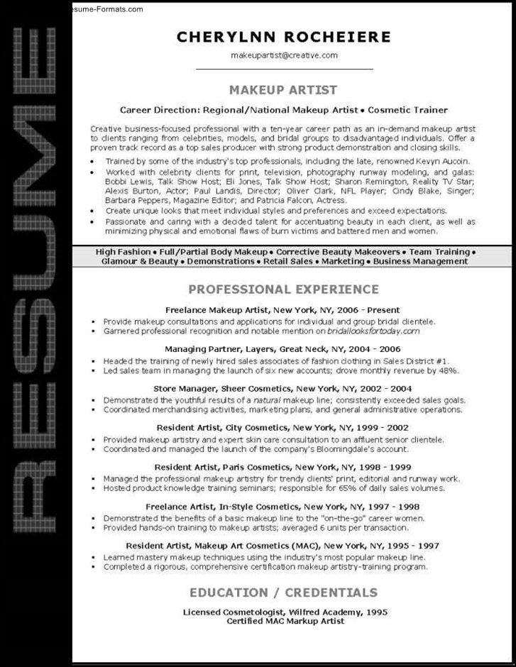 Makeup Artist Resume Sample Info Job And Template. Graphic Arts
