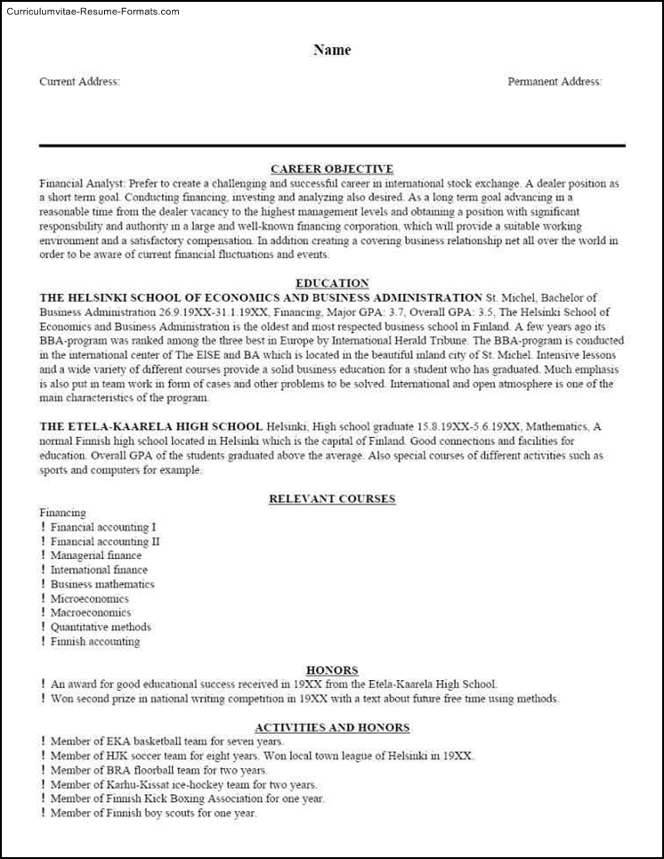 master resume template