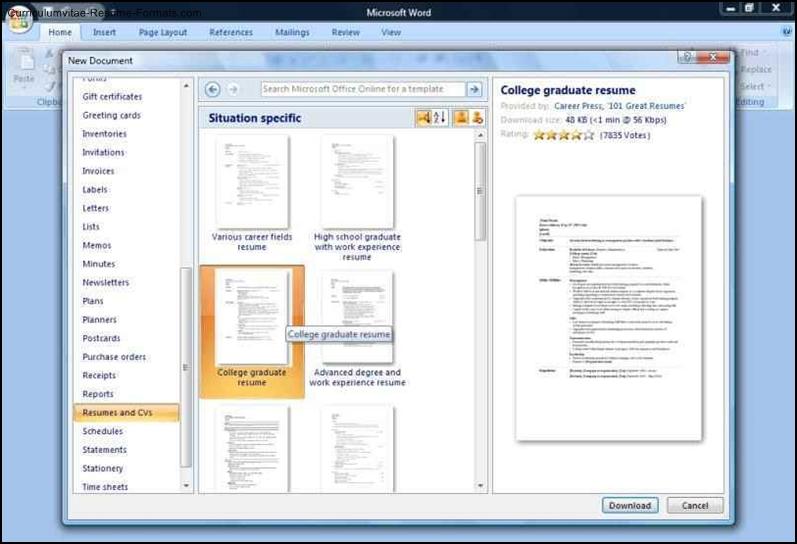 microsoft office 2010 resume templates
