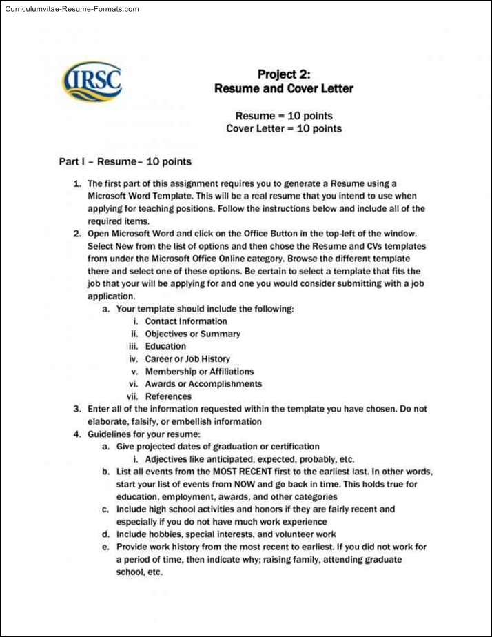 microsoft word resume cover letter template  free samples