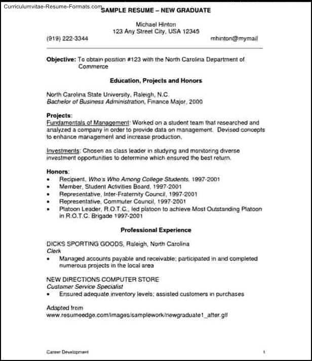 new graduate resume template free samples examples