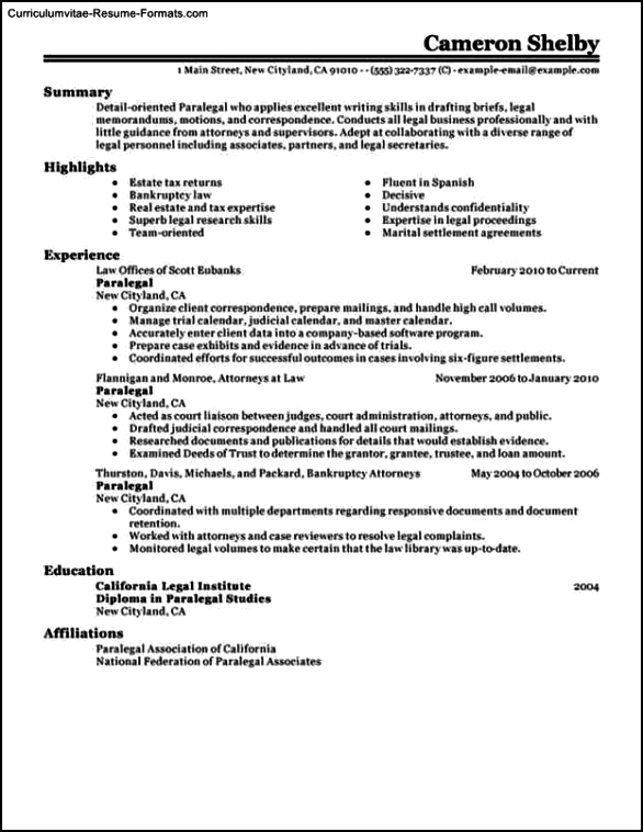 Paralegal Resume Templates