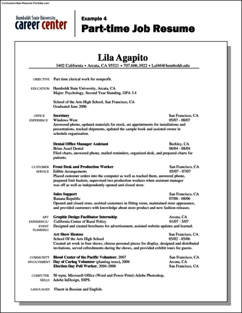 Part Time Resume Template
