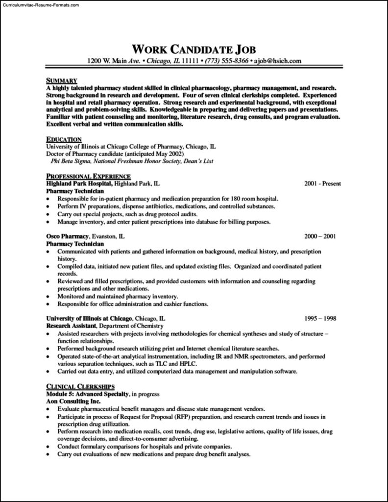 Pharmacist Resume Templates