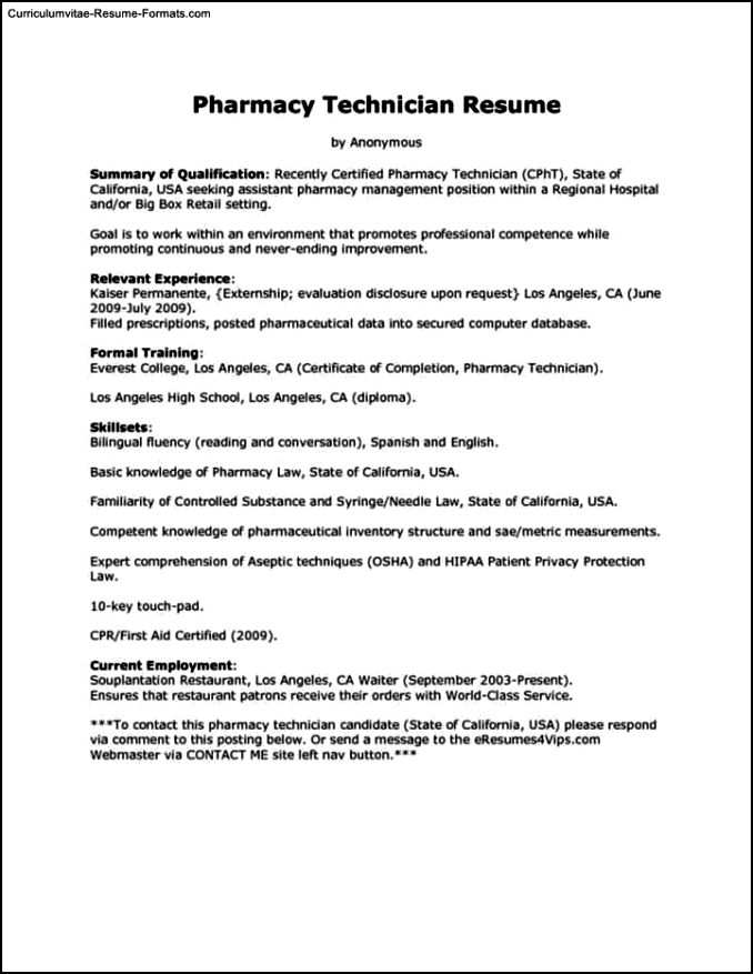 Pharmacy Tech Resume Template Free Samples Examples