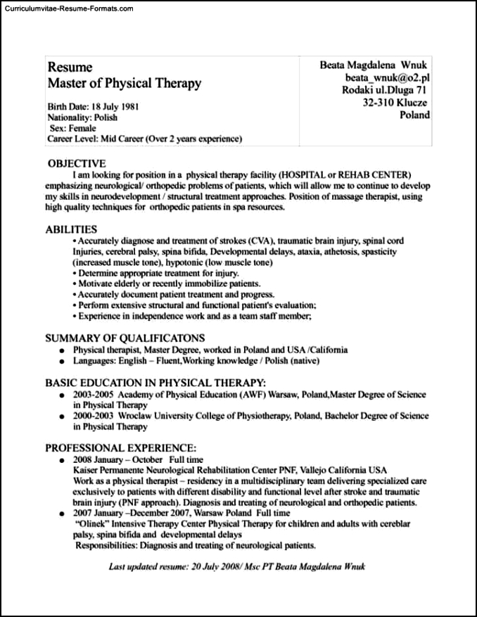 physical therapist resume template free samples. Black Bedroom Furniture Sets. Home Design Ideas
