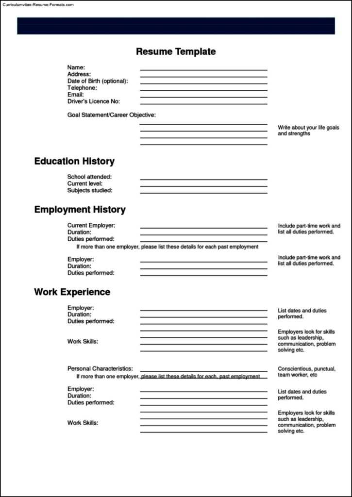 Printable Resume Templates Free
