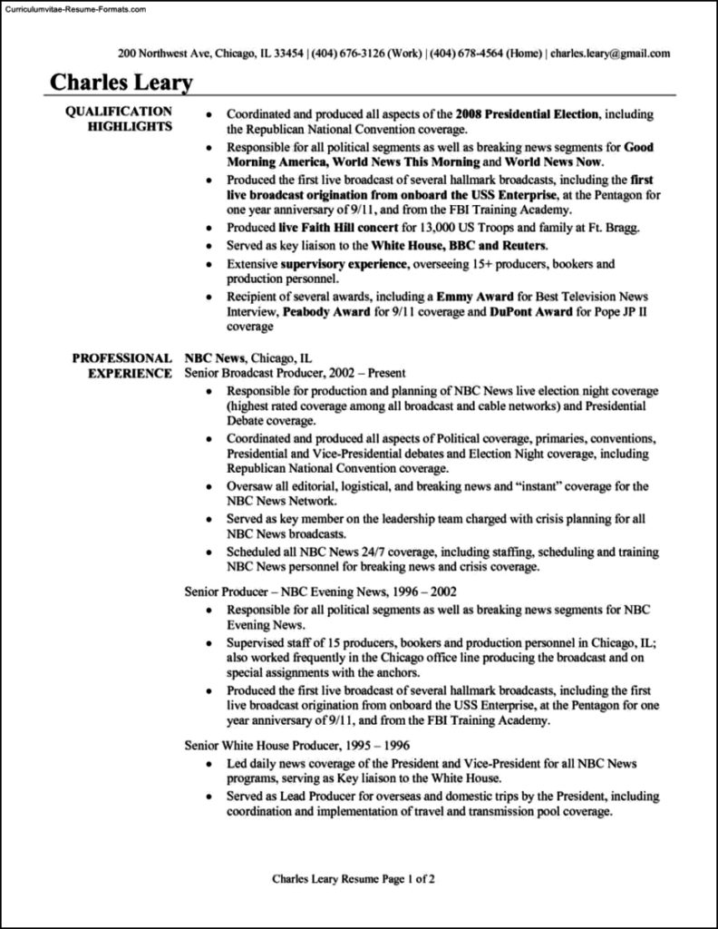 Production Resume Template