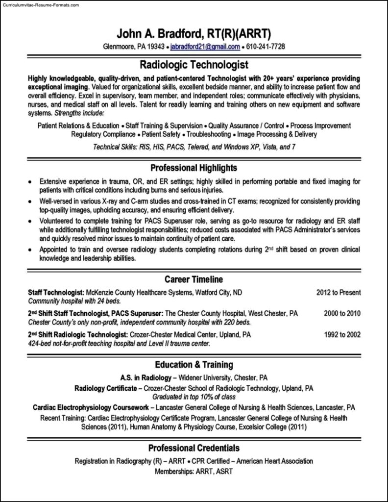 Radiologic Technologist Resume Templates Free Samples