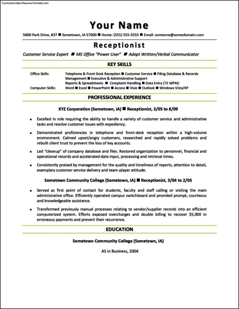 Receptionist Resume Templates