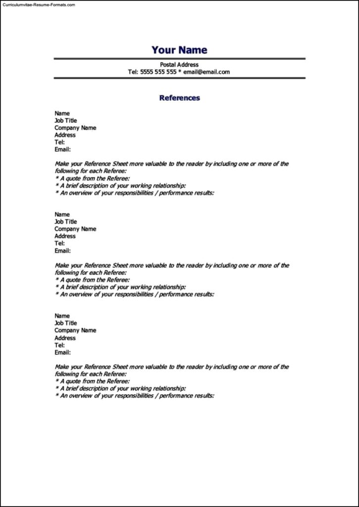 Reference Page For Resume Template