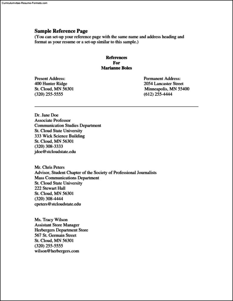 Reference Page Template Resume