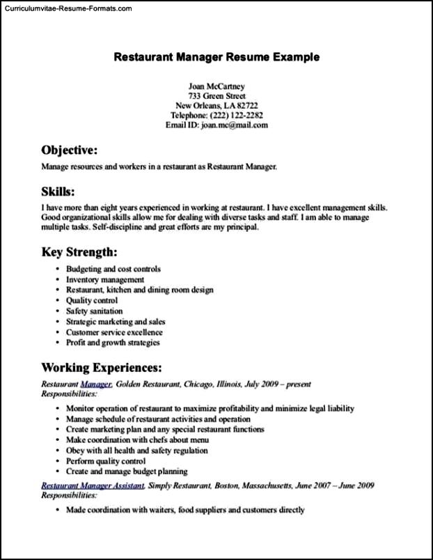 Restaurant Resume Template