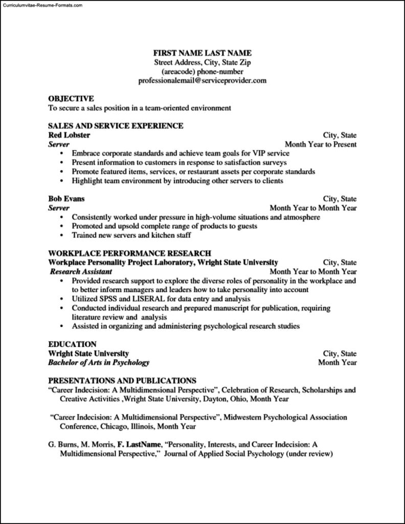 Restaurant Server Resume Template