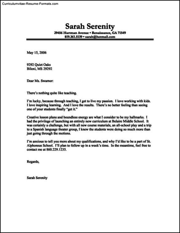 Resume Cover Letter Template Free Download