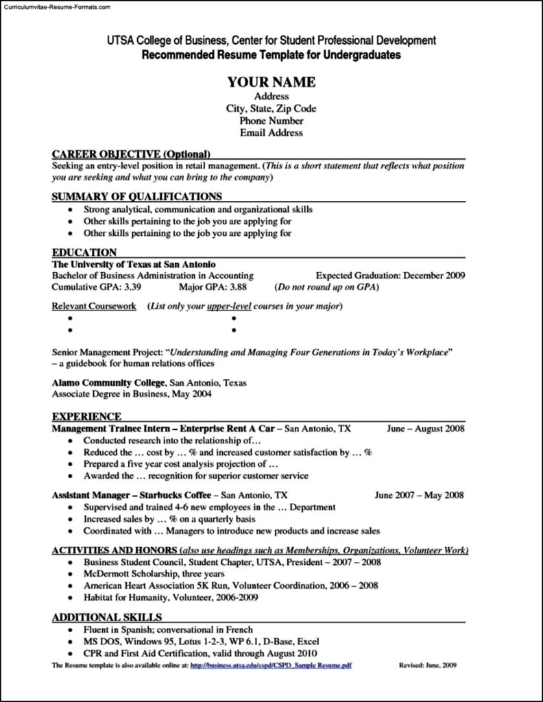 Resume For College Template