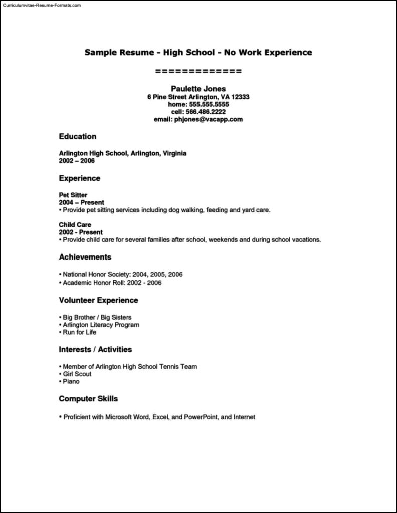Resume For High School Students With No Experience Template