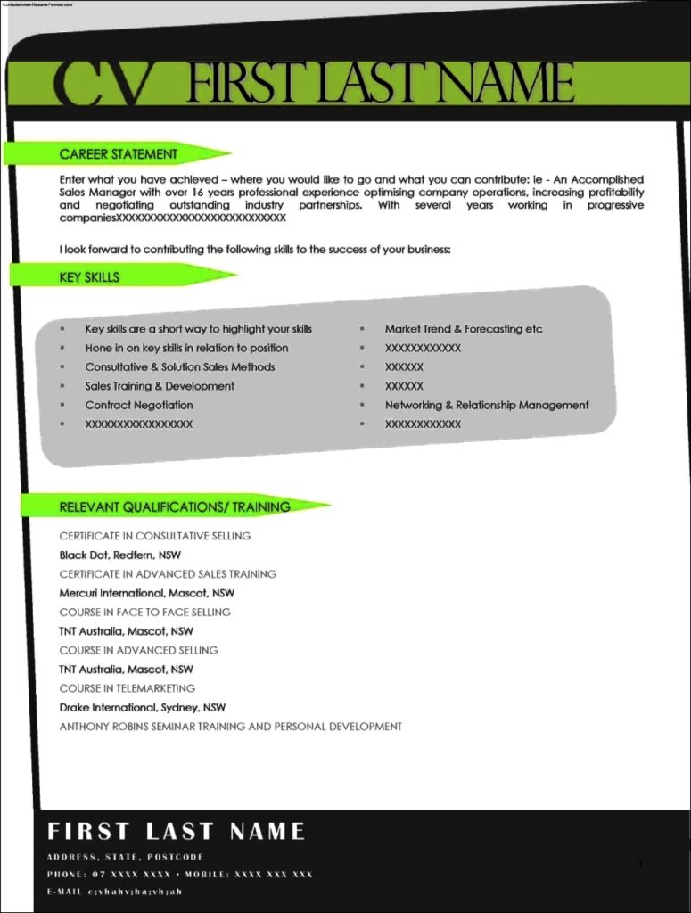 Resume Front Page Template Free Samples Examples