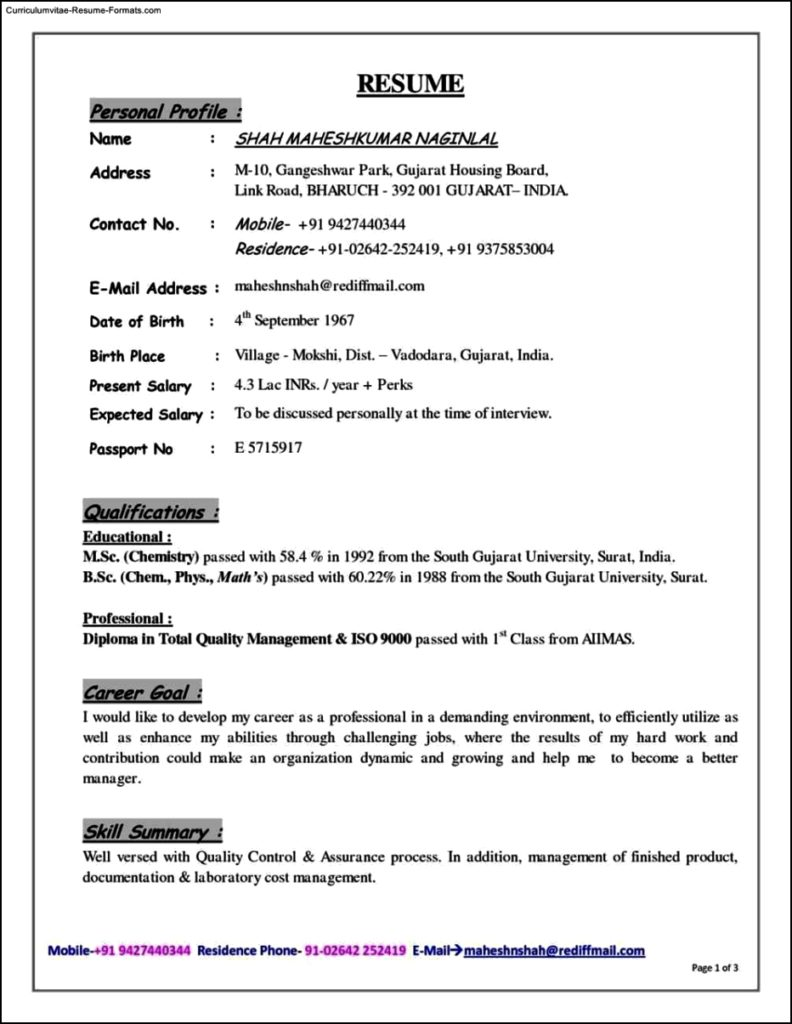 Resume Profile Template Free Samples Examples Format Resume